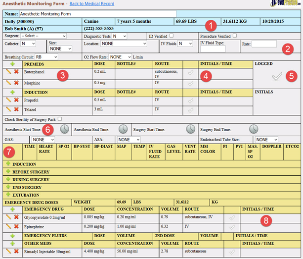 Anesthetic Monitoring Form Setup and Use – eVetPractice com